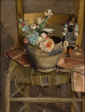 Vaso di fiori con bambolina