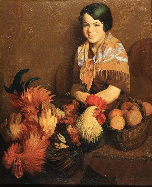 Figura femminile con galli
