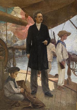 """Nicolò Garaventa e i giovani 'garaventini'  nella nave-scuola """"Redenzione"""" - 1898"""
