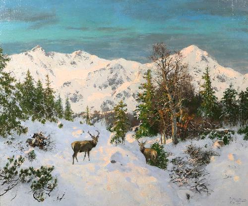Cervi nella neve