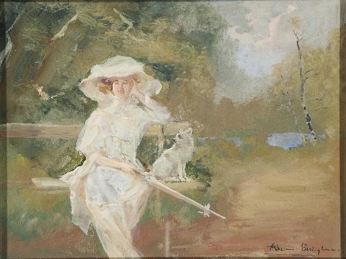 Signora elegante in giardino