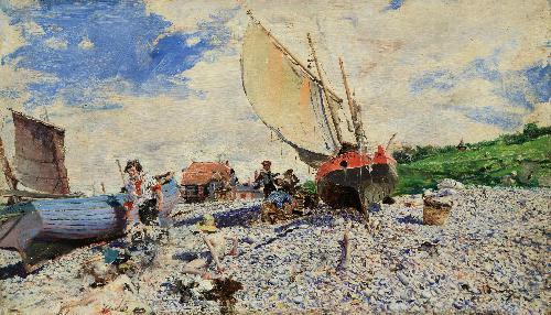 Spiaggia di Etretat con peschereccio, 1878-1879