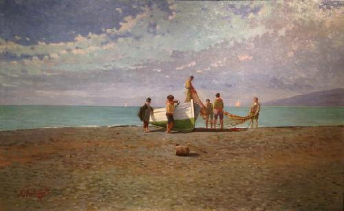 Marina di Sestri Levante con pescatori